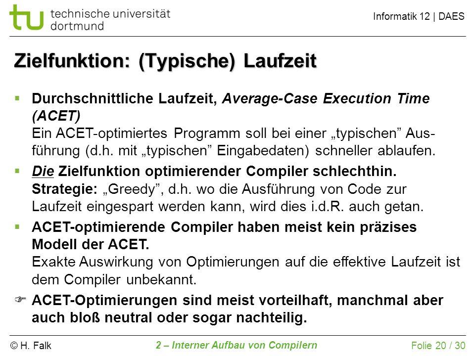 © H. Falk Informatik 12 | DAES 2 – Interner Aufbau von Compilern Folie 20 / 30 Zielfunktion: (Typische) Laufzeit Durchschnittliche Laufzeit, Average-C