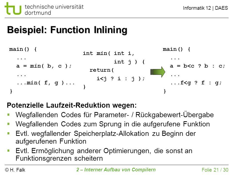 © H. Falk Informatik 12 | DAES 2 – Interner Aufbau von Compilern Folie 21 / 30 Beispiel: Function Inlining Potenzielle Laufzeit-Reduktion wegen: Wegfa