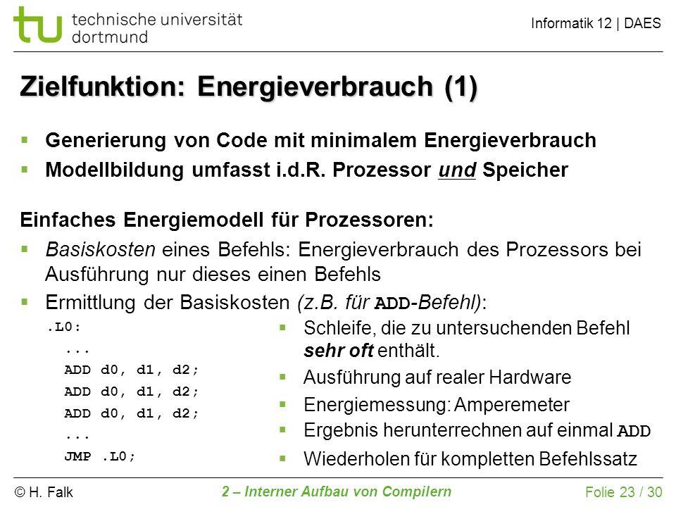 © H. Falk Informatik 12 | DAES 2 – Interner Aufbau von Compilern Folie 23 / 30 Einfaches Energiemodell für Prozessoren: Basiskosten eines Befehls: Ene
