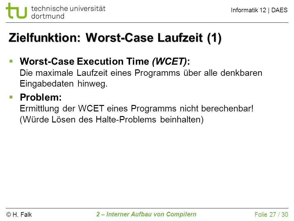 © H. Falk Informatik 12 | DAES 2 – Interner Aufbau von Compilern Folie 27 / 30 Zielfunktion: Worst-Case Laufzeit (1) Worst-Case Execution Time (WCET):