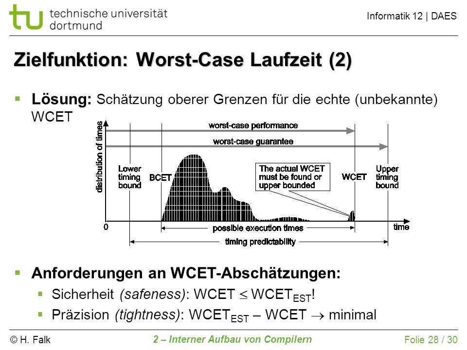 © H. Falk Informatik 12 | DAES 2 – Interner Aufbau von Compilern Folie 28 / 30 Zielfunktion: Worst-Case Laufzeit (2) Lösung: Schätzung oberer Grenzen