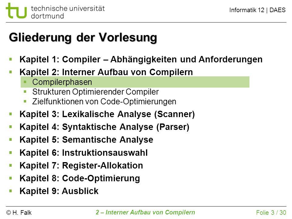 © H. Falk Informatik 12 | DAES 2 – Interner Aufbau von Compilern Folie 3 / 30 Gliederung der Vorlesung Kapitel 1: Compiler – Abhängigkeiten und Anford
