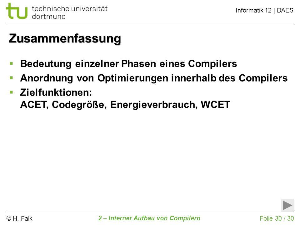 © H. Falk Informatik 12 | DAES 2 – Interner Aufbau von Compilern Folie 30 / 30 Zusammenfassung Bedeutung einzelner Phasen eines Compilers Anordnung vo