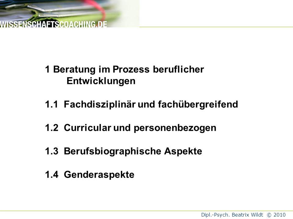 Dipl.-Psych. Beatrix Wildt © 2010 Sozialer Habitus StrukturKapitalFächerProzesseGenderMacht