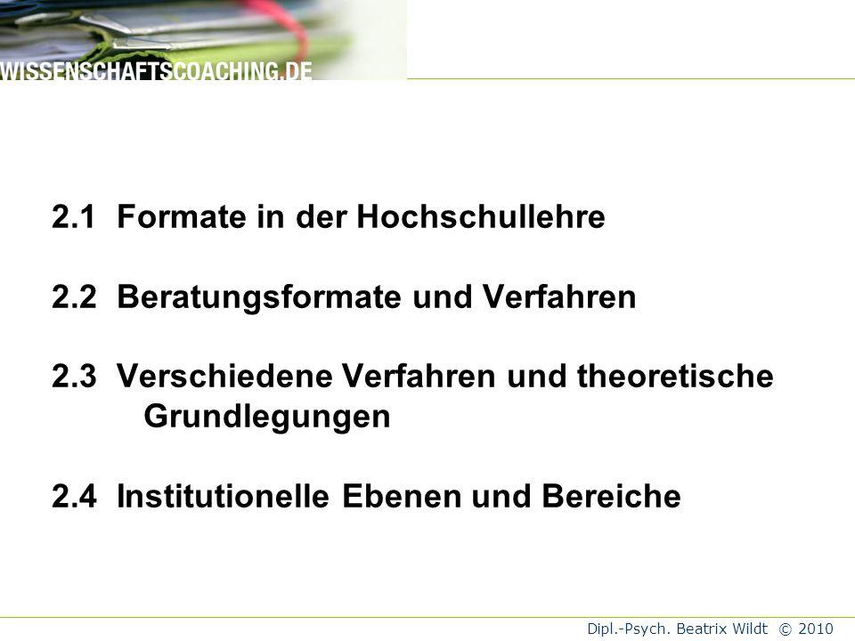 Dipl.-Psych.Beatrix Wildt © 2010 Wildt, J.; Szczyrba, B.; Wildt, B.