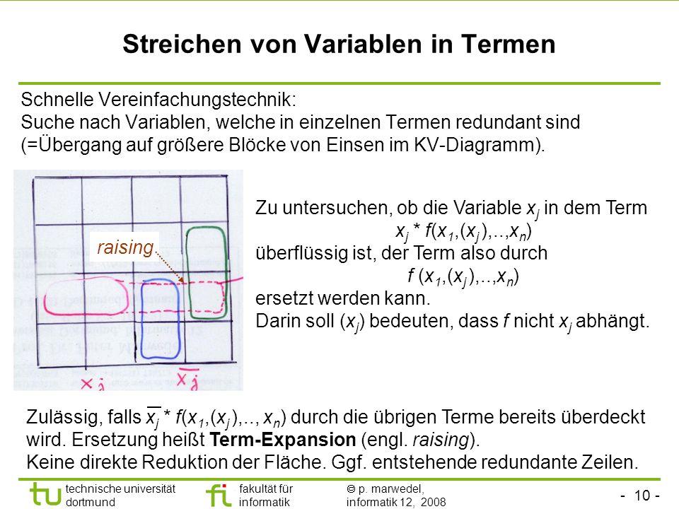 - 10 - technische universität dortmund fakultät für informatik p. marwedel, informatik 12, 2008 Streichen von Variablen in Termen Schnelle Vereinfachu