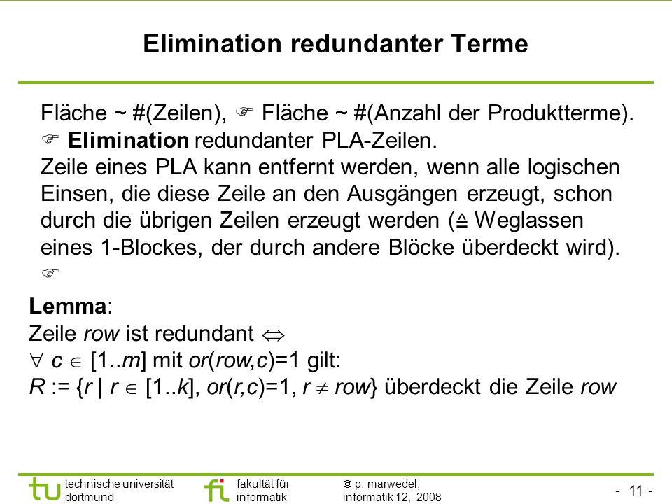 - 11 - technische universität dortmund fakultät für informatik p. marwedel, informatik 12, 2008 Elimination redundanter Terme Fläche ~ #(Zeilen), Fläc