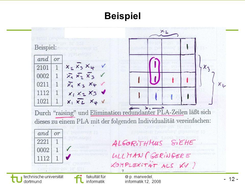 - 12 - technische universität dortmund fakultät für informatik p. marwedel, informatik 12, 2008 Beispiel