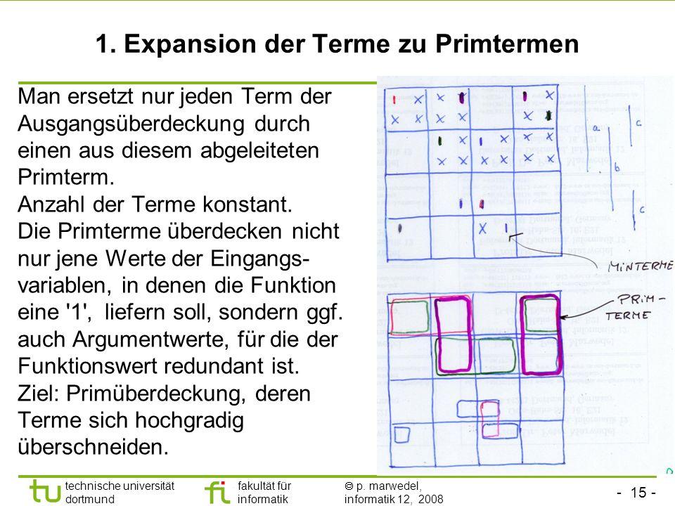 - 15 - technische universität dortmund fakultät für informatik p. marwedel, informatik 12, 2008 1. Expansion der Terme zu Primtermen Man ersetzt nur j
