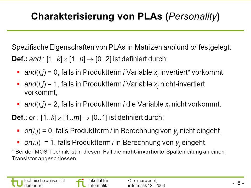 - 6 - technische universität dortmund fakultät für informatik p. marwedel, informatik 12, 2008 Charakterisierung von PLAs (Personality) Spezifische Ei