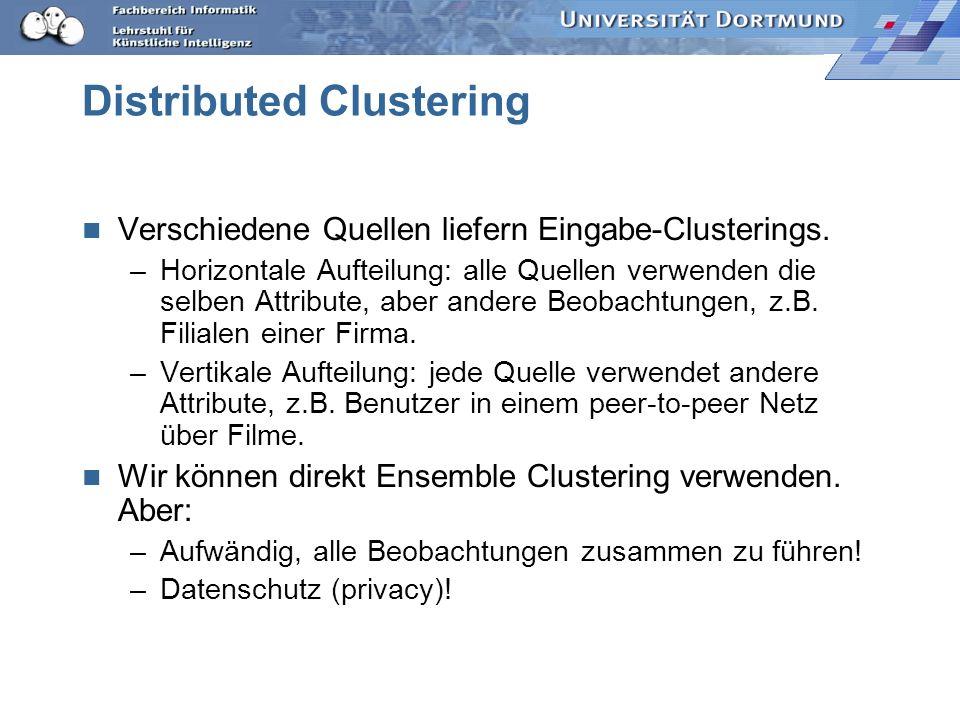 Distributed Clustering Verschiedene Quellen liefern Eingabe-Clusterings. –Horizontale Aufteilung: alle Quellen verwenden die selben Attribute, aber an