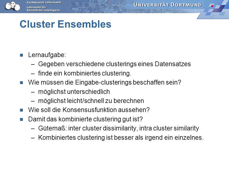 Cluster Ensembles: formale Aufgabenstellung Gegeben: X: Beobachtungen im d-dimensionalen Raum G: Menge von clusterings { 1,..., H } i = {g i 1,..., g i K }, wobei X= g i 1 g i 2...