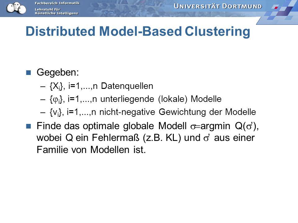 Distributed Model-Based Clustering Gegeben: –{X i }, i=1,...,n Datenquellen –{ i }, i=1,...,n unterliegende (lokale) Modelle –{v i }, i=1,...,n nicht-