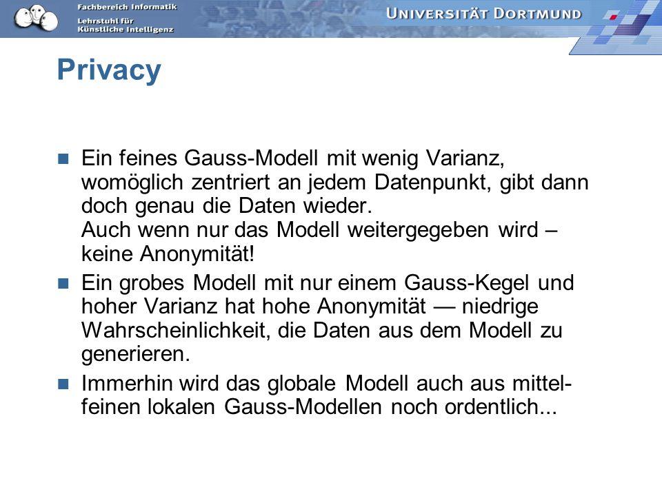Privacy Ein feines Gauss-Modell mit wenig Varianz, womöglich zentriert an jedem Datenpunkt, gibt dann doch genau die Daten wieder. Auch wenn nur das M