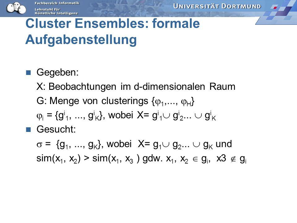 Cluster Ensembles: formale Aufgabenstellung Gegeben: X: Beobachtungen im d-dimensionalen Raum G: Menge von clusterings { 1,..., H } i = {g i 1,..., g
