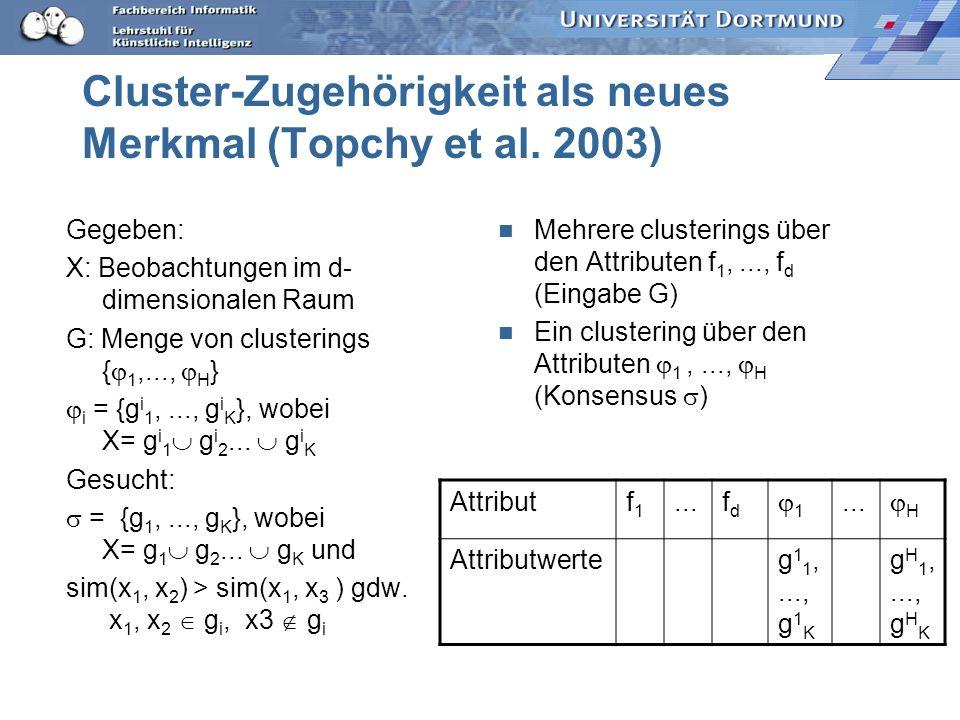 Cluster-Zugehörigkeit als neues Merkmal (Topchy et al. 2003) Gegeben: X: Beobachtungen im d- dimensionalen Raum G: Menge von clusterings { 1,..., H }