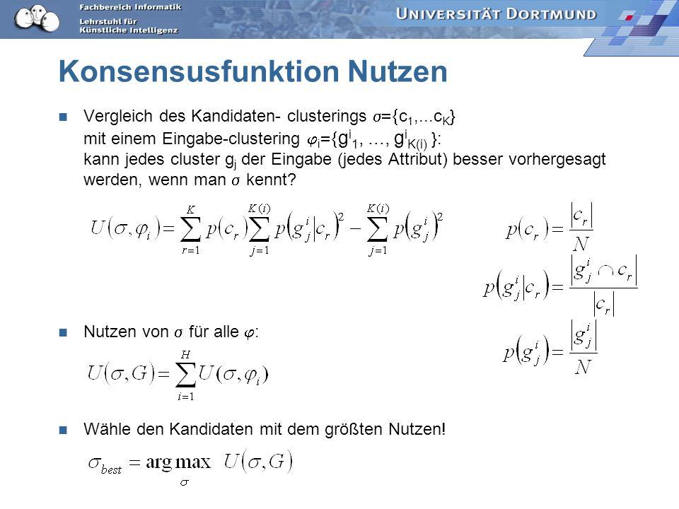 Konsensusfunktion Nutzen Vergleich des Kandidaten- clusterings c 1,...c K } mit einem Eingabe-clustering i g i 1,..., g i K(i) }: kann jedes cluster g