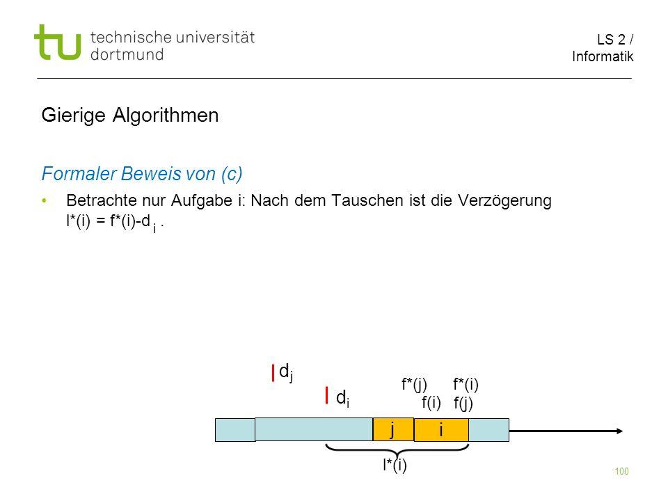 LS 2 / Informatik 100 Gierige Algorithmen Formaler Beweis von (c) Betrachte nur Aufgabe i: Nach dem Tauschen ist die Verzögerung l*(i) = f*(i)-d. i j