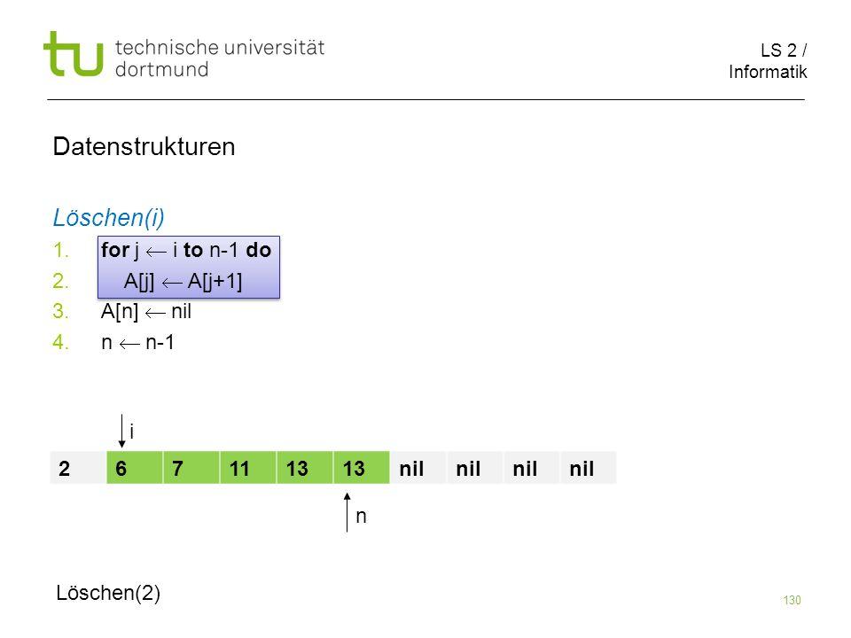 LS 2 / Informatik 130 Datenstrukturen Löschen(i) 1. for j i to n-1 do 2. A[j] A[j+1] 3. A[n] nil 4. n n-1 2671113 nil n Löschen(2) i