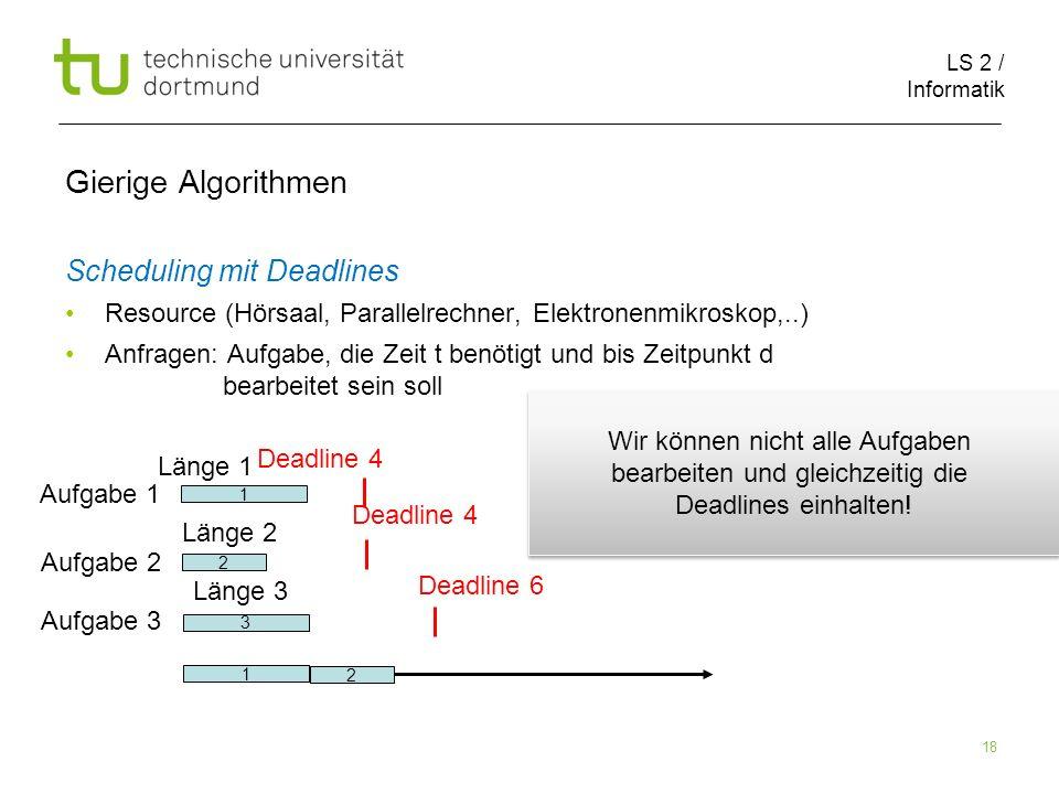 LS 2 / Informatik 18 Gierige Algorithmen Scheduling mit Deadlines Resource (Hörsaal, Parallelrechner, Elektronenmikroskop,..) Anfragen: Aufgabe, die Z