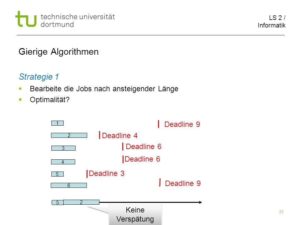 LS 2 / Informatik 33 Gierige Algorithmen Strategie 1 Bearbeite die Jobs nach ansteigender Länge Optimalität? 2 6 1 5 3 4 Deadline 9 Deadline 4 Deadlin