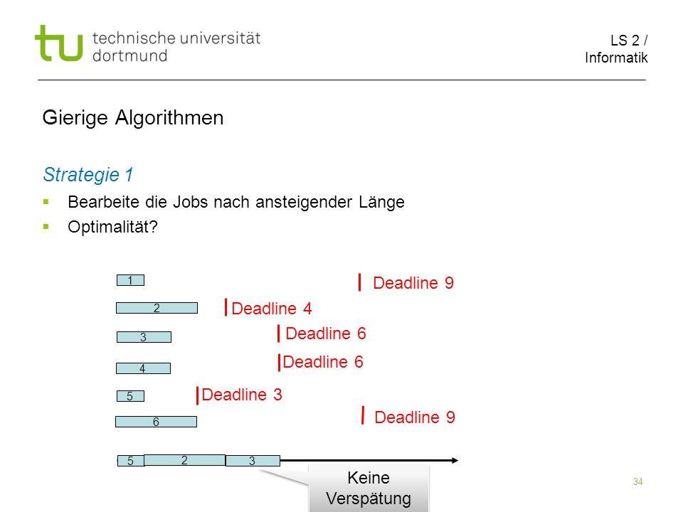 LS 2 / Informatik 34 Gierige Algorithmen Strategie 1 Bearbeite die Jobs nach ansteigender Länge Optimalität? 2 6 1 5 3 4 Deadline 9 Deadline 4 Deadlin
