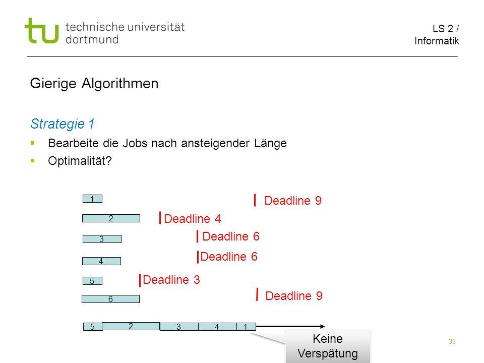 LS 2 / Informatik 36 Gierige Algorithmen Strategie 1 Bearbeite die Jobs nach ansteigender Länge Optimalität? 2 6 1 5 3 4 Deadline 9 Deadline 4 Deadlin