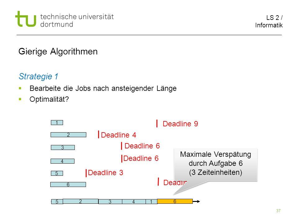 LS 2 / Informatik 37 Gierige Algorithmen Strategie 1 Bearbeite die Jobs nach ansteigender Länge Optimalität? 2 6 1 5 3 4 Deadline 9 Deadline 4 Deadlin