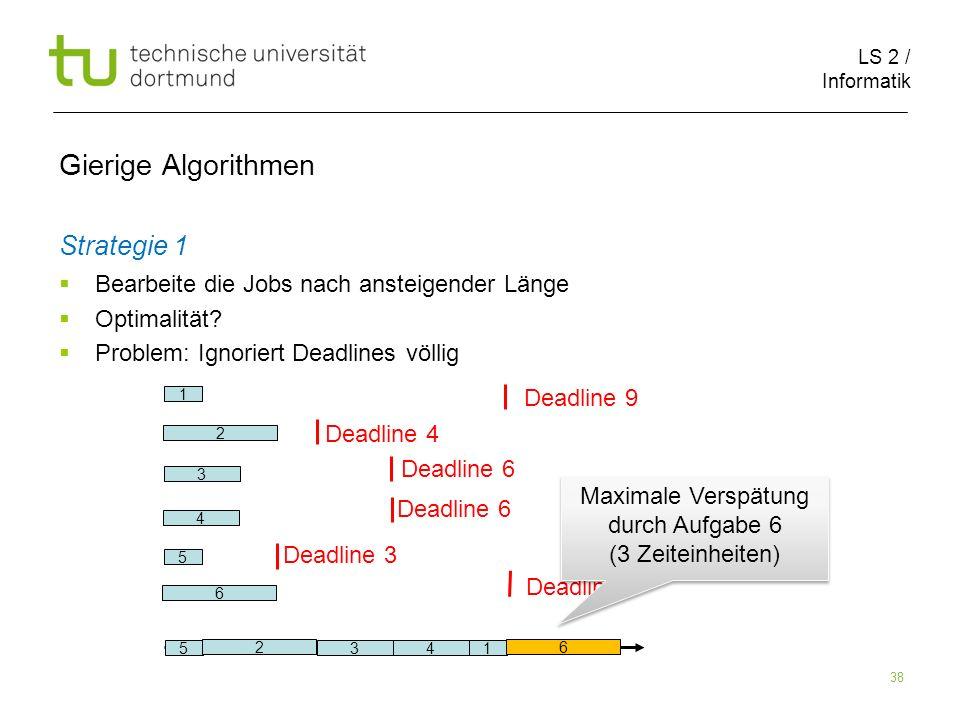 LS 2 / Informatik 38 Gierige Algorithmen Strategie 1 Bearbeite die Jobs nach ansteigender Länge Optimalität? Problem: Ignoriert Deadlines völlig 2 6 1