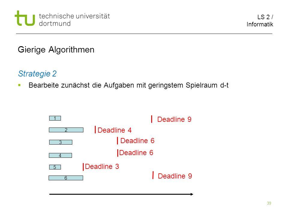 LS 2 / Informatik 39 Gierige Algorithmen Strategie 2 Bearbeite zunächst die Aufgaben mit geringstem Spielraum d-t 2 6 1 5 3 Deadline 9 Deadline 4 Dead