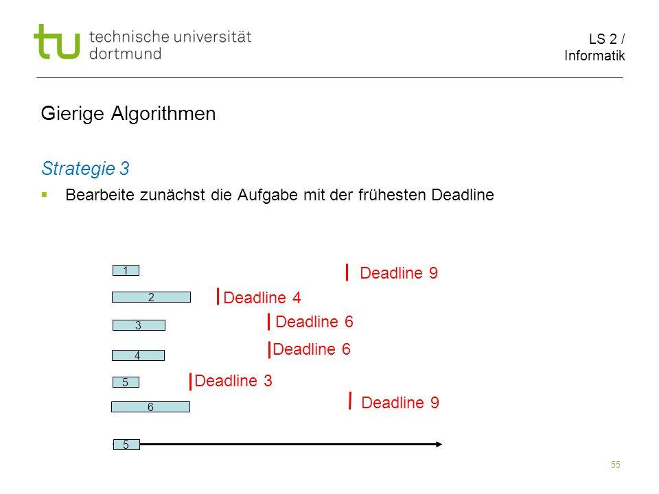 LS 2 / Informatik 55 Gierige Algorithmen Strategie 3 Bearbeite zunächst die Aufgabe mit der frühesten Deadline 2 6 1 5 3 Deadline 9 Deadline 4 Deadlin