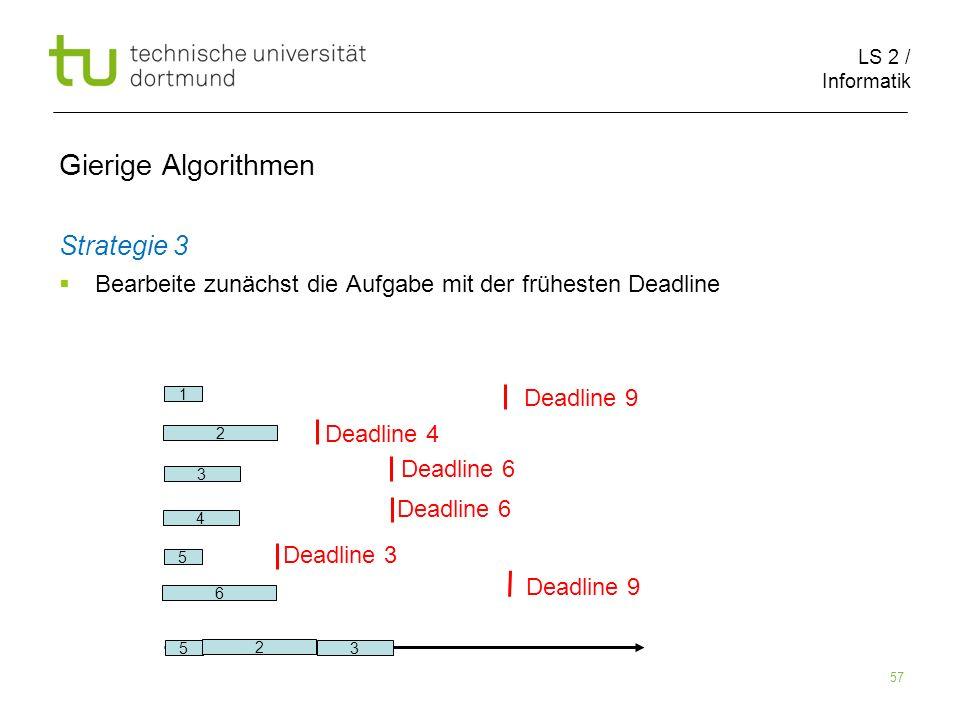 LS 2 / Informatik 57 Gierige Algorithmen Strategie 3 Bearbeite zunächst die Aufgabe mit der frühesten Deadline 2 6 1 5 3 Deadline 9 Deadline 4 Deadlin