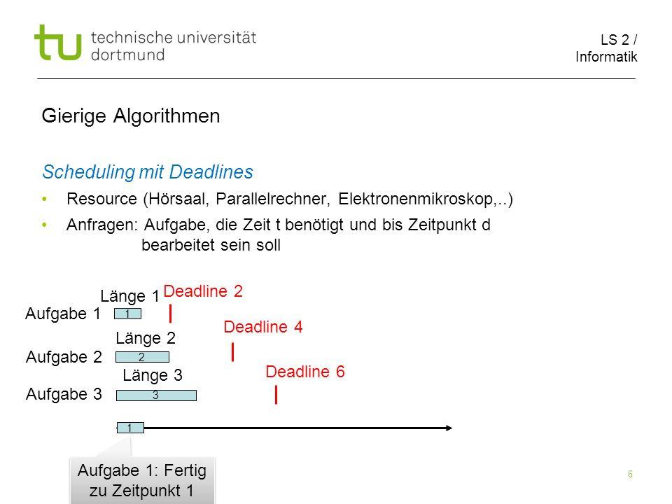 LS 2 / Informatik 6 Gierige Algorithmen Scheduling mit Deadlines Resource (Hörsaal, Parallelrechner, Elektronenmikroskop,..) Anfragen: Aufgabe, die Ze
