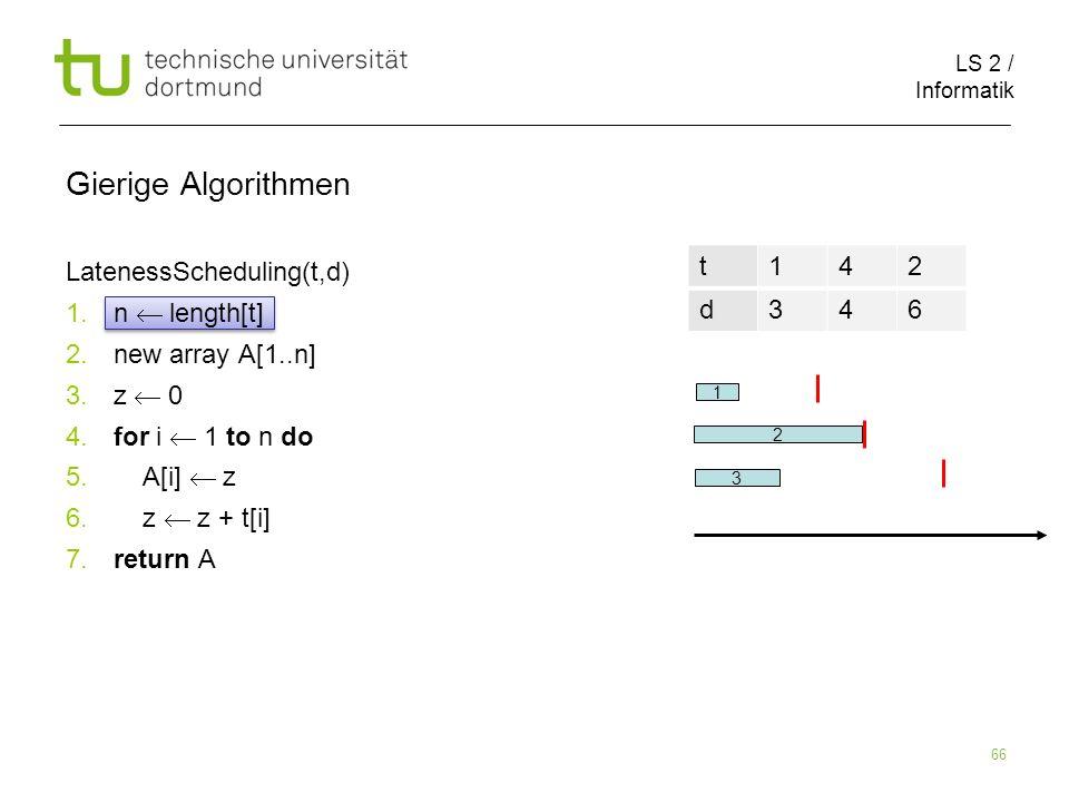 LS 2 / Informatik 66 Gierige Algorithmen LatenessScheduling(t,d) 1. n length[t] 2. new array A[1..n] 3. z 0 4. for i 1 to n do 5. A[i] z 6. z z + t[i]