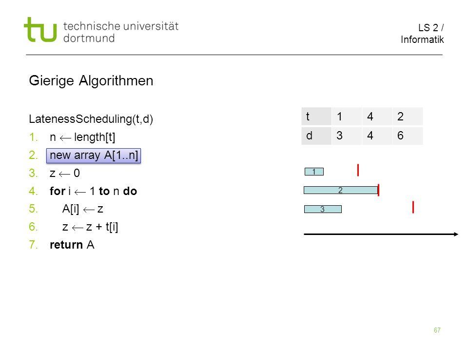LS 2 / Informatik 67 Gierige Algorithmen LatenessScheduling(t,d) 1. n length[t] 2. new array A[1..n] 3. z 0 4. for i 1 to n do 5. A[i] z 6. z z + t[i]