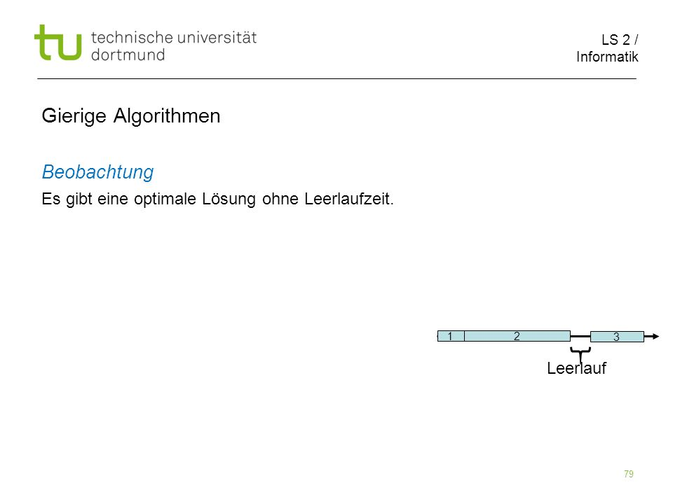 LS 2 / Informatik 79 Gierige Algorithmen Beobachtung Es gibt eine optimale Lösung ohne Leerlaufzeit. 1 2 3 Leerlauf