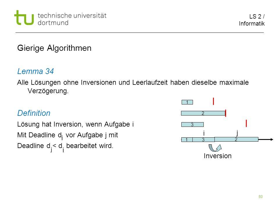 LS 2 / Informatik 80 Gierige Algorithmen Lemma 34 Alle Lösungen ohne Inversionen und Leerlaufzeit haben dieselbe maximale Verzögerung. Definition Lösu