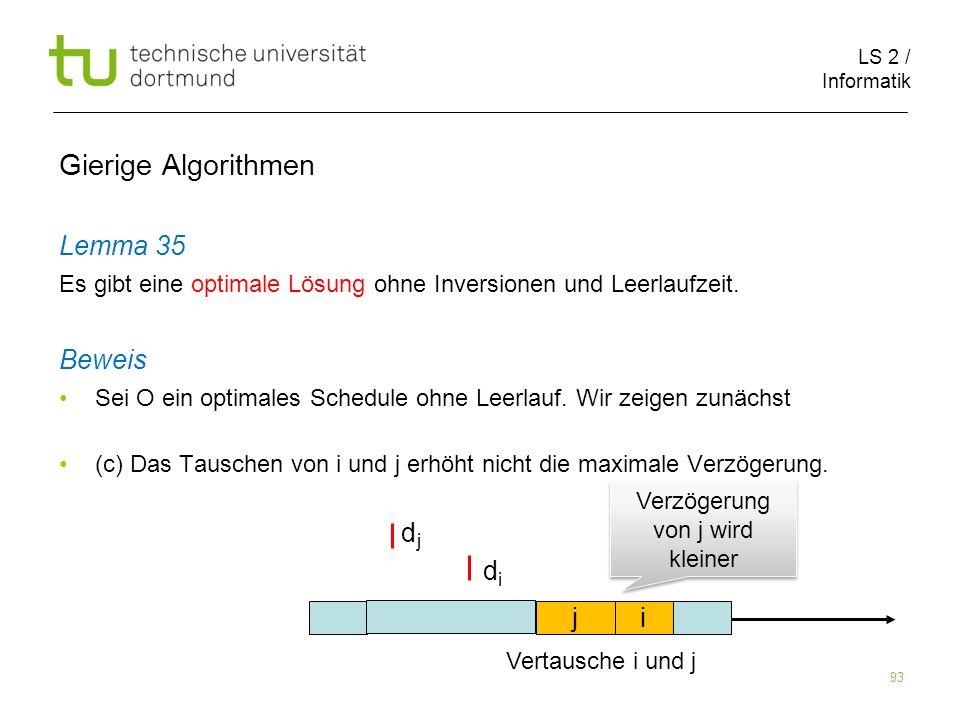 LS 2 / Informatik 93 Gierige Algorithmen Lemma 35 Es gibt eine optimale Lösung ohne Inversionen und Leerlaufzeit. Beweis Sei O ein optimales Schedule