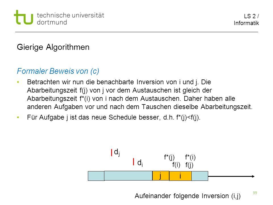 LS 2 / Informatik 99 Gierige Algorithmen Formaler Beweis von (c) Betrachten wir nun die benachbarte Inversion von i und j. Die Abarbeitungszeit f(j) v
