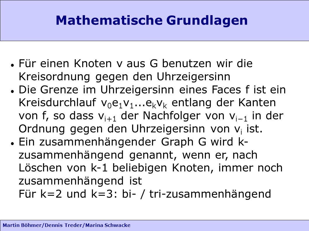 Martin Böhmer/Dennis Treder/Marina Schwacke Mathematische Grundlagen Für einen Knoten v aus G benutzen wir die Kreisordnung gegen den Uhrzeigersinn Di