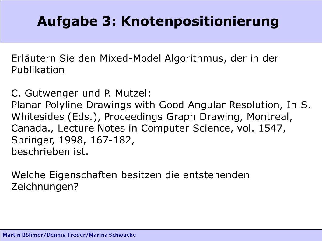 Martin Böhmer/Dennis Treder/Marina Schwacke Phase 3: Platzierung Verschieben von Knoten: c i aus C nach rechts verschieben -> c i,...,c q und einige Knoten die nicht aus C sind M(c i ) die Menge von Knoten die verschoben werden müssen, wenn c i verschoben wird.