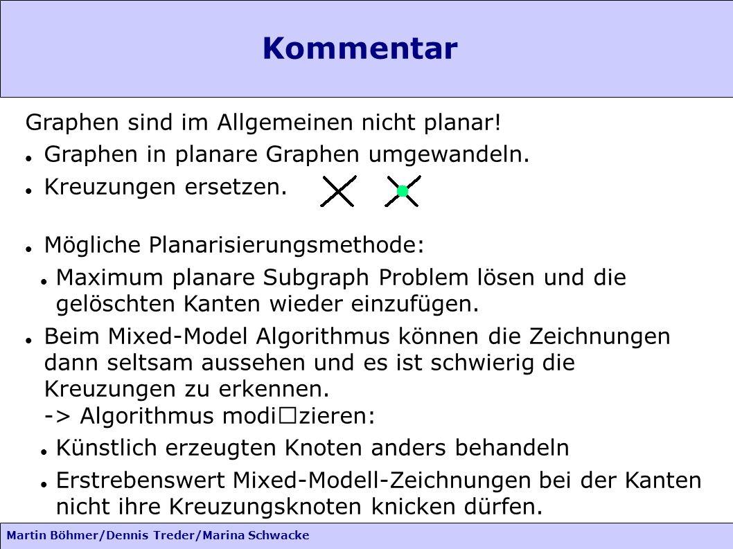 Martin Böhmer/Dennis Treder/Marina Schwacke Kommentar Graphen sind im Allgemeinen nicht planar! Graphen in planare Graphen umgewandeln. Kreuzungen ers