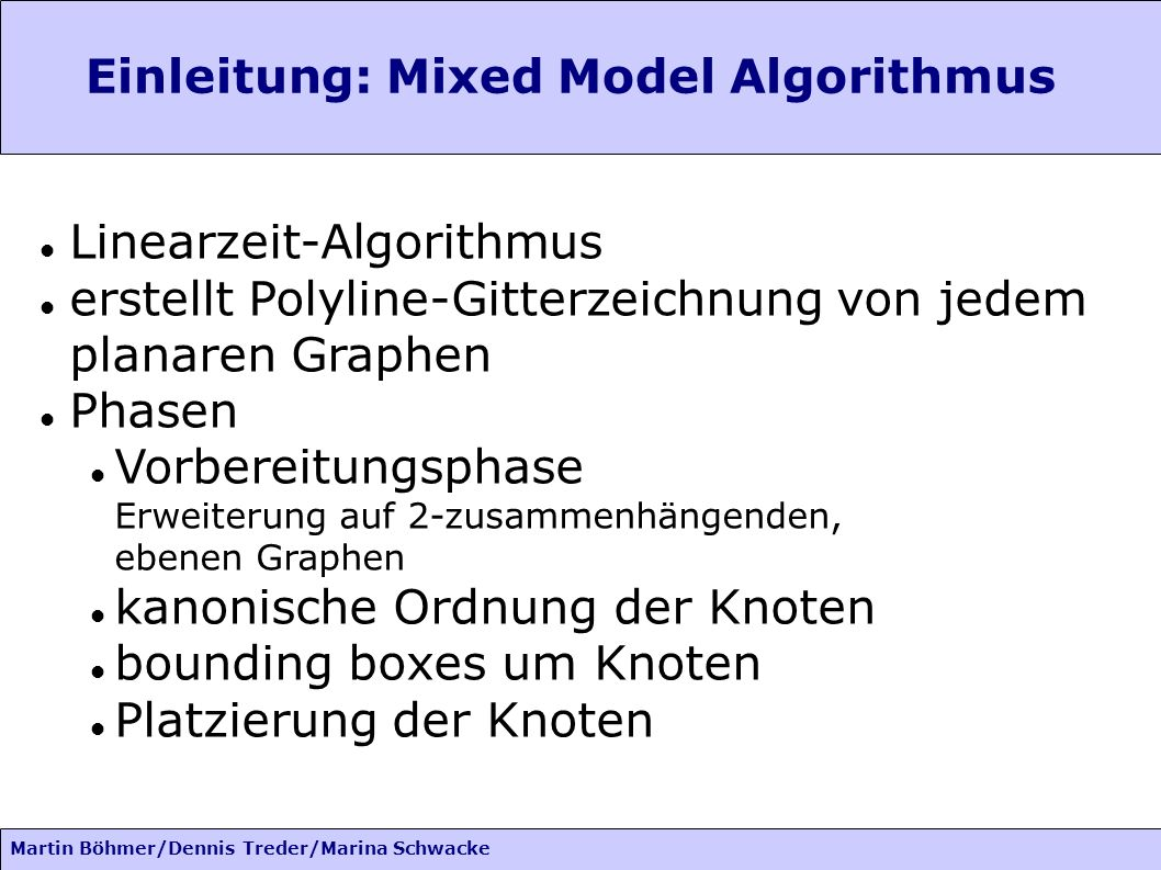 Martin Böhmer/Dennis Treder/Marina Schwacke Einleitung: Idee des Algo basiert auf Ideen von Kant für 3-zusammenhängene Graphen: ebenfalls Linearzeit-Algorithmus minimaler Winkel mind.