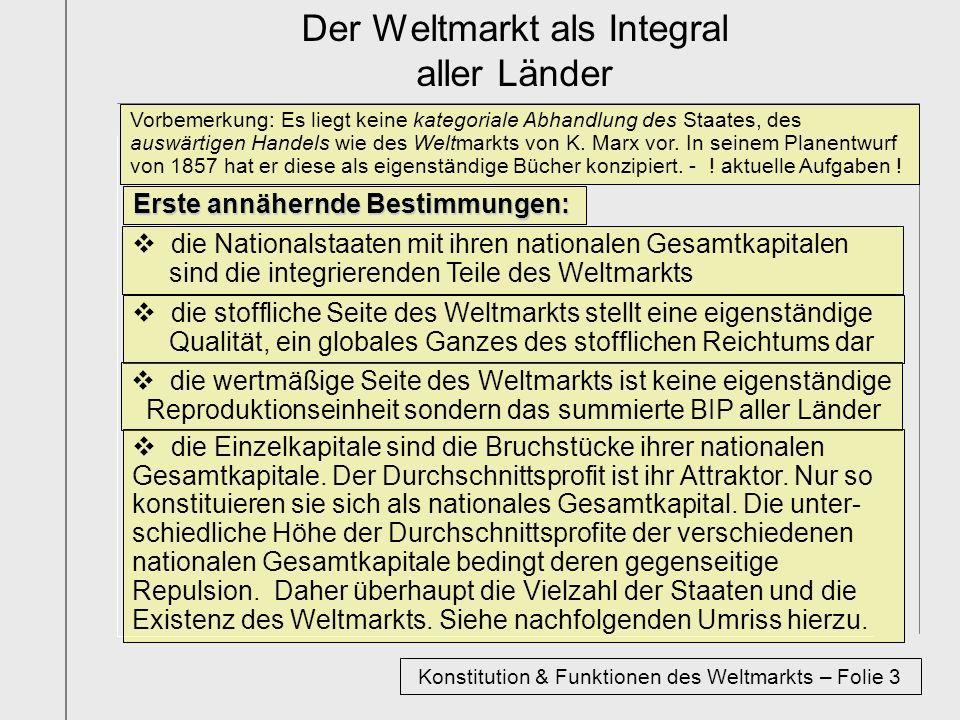 Der Weltmarkt als Integral aller Länder Erste annähernde Bestimmungen: die Nationalstaaten mit ihren nationalen Gesamtkapitalen sind die integrierende