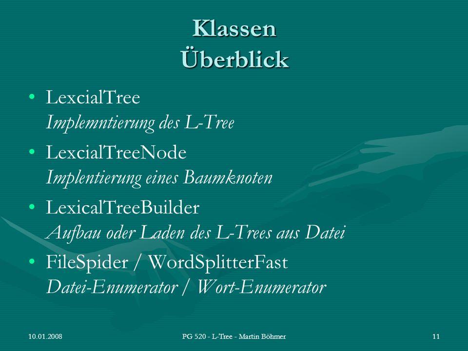 10.01.2008PG 520 - L-Tree - Martin Böhmer11 Klassen Überblick LexcialTree Implemntierung des L-Tree LexcialTreeNode Implentierung eines Baumknoten Lex