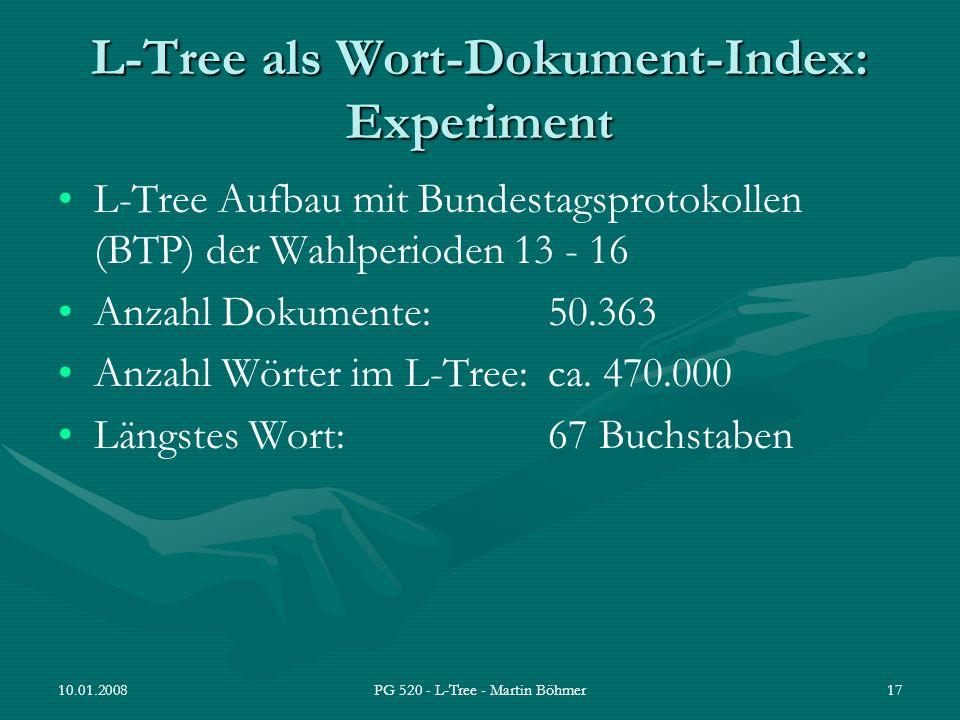 10.01.2008PG 520 - L-Tree - Martin Böhmer17 L-Tree als Wort-Dokument-Index: Experiment L-Tree Aufbau mit Bundestagsprotokollen (BTP) der Wahlperioden