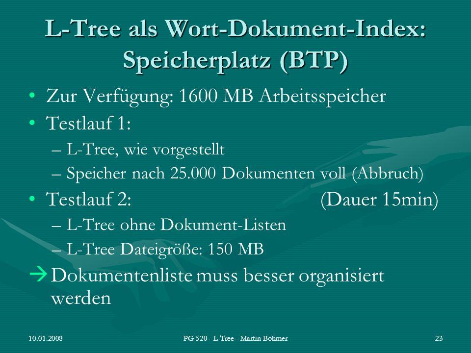 10.01.2008PG 520 - L-Tree - Martin Böhmer23 L-Tree als Wort-Dokument-Index: Speicherplatz (BTP) Zur Verfügung: 1600 MB Arbeitsspeicher Testlauf 1: –L-