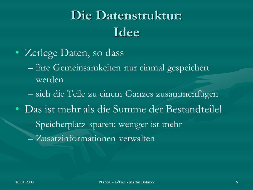 10.01.2008PG 520 - L-Tree - Martin Böhmer17 L-Tree als Wort-Dokument-Index: Experiment L-Tree Aufbau mit Bundestagsprotokollen (BTP) der Wahlperioden 13 - 16 Anzahl Dokumente: 50.363 Anzahl Wörter im L-Tree:ca.