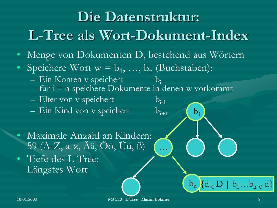 10.01.2008PG 520 - L-Tree - Martin Böhmer8 Die Datenstruktur: L-Tree als Wort-Dokument-Index Menge von Dokumenten D, bestehend aus Wörtern Speichere W