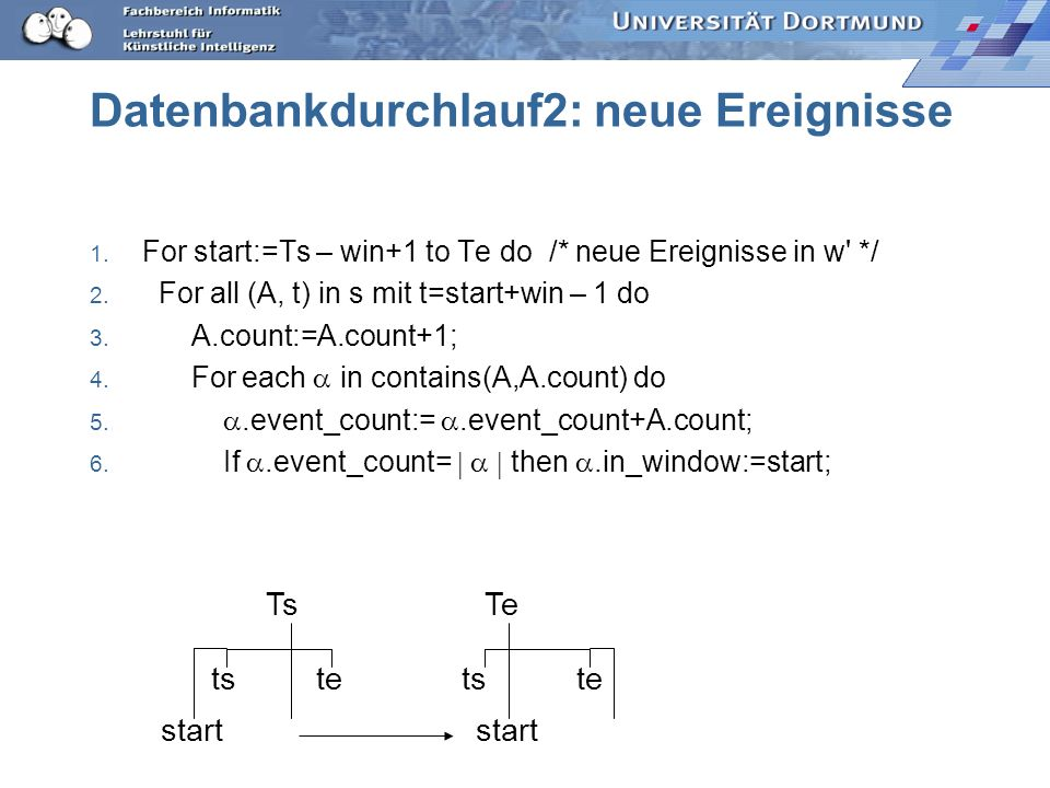 Datenbankdurchlauf2: neue Ereignisse 1. For start:=Ts – win+1 to Te do /* neue Ereignisse in w' */ 2. For all (A, t) in s mit t=start+win – 1 do 3. A.